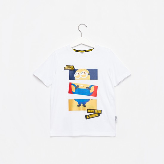 Minion Print Applique T-shirt with Round Neck and Short Sleeves