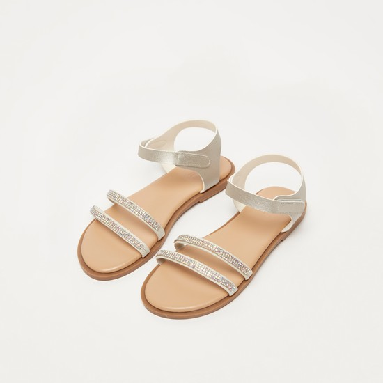 Stud Detail Sandals with Ankle Strap