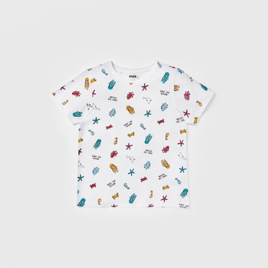 Printed Round T-shirt and Shorts Set