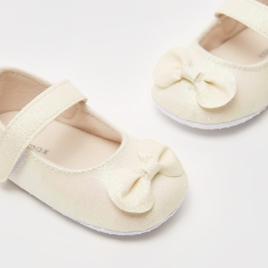 Bow Applique Detail Booties with Hook and Loop Closure