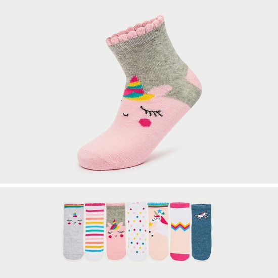 Pack of 7 - Printed Ankle Length Socks with Elasticised Hem