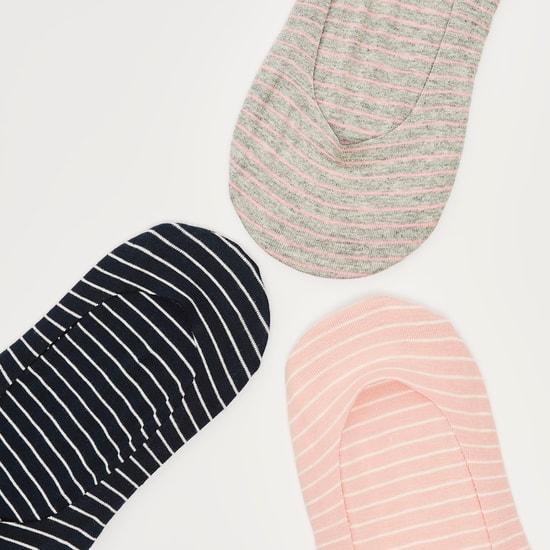 جوارب غير مرئية مخططة بحوّاف مطّاطية - طقم من 3 أزواج