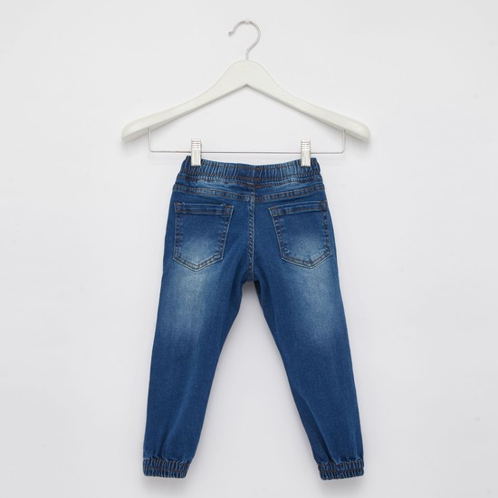 Pocket Detail Full Length Denim Joggers with Elasticised Cuffs and Drawstring