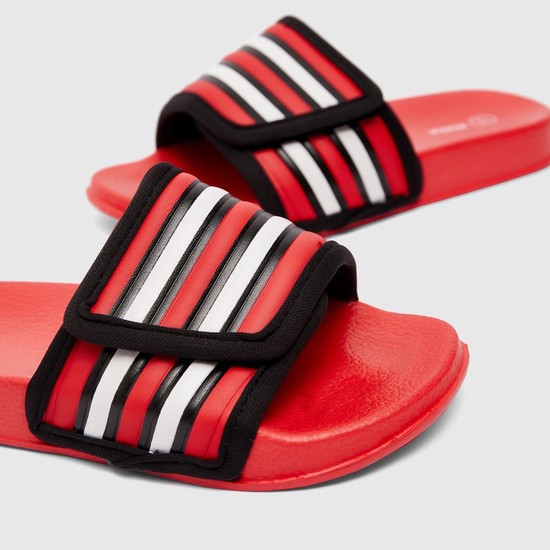 Solid Slides with Striped Broad Strap