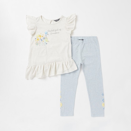 Embroidered Asymmetric Top with Ruffle Detail and Leggings Set