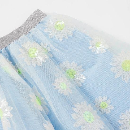 Sequin Embellished Cold Shoulder Top and Mesh Overlay Skirt Set