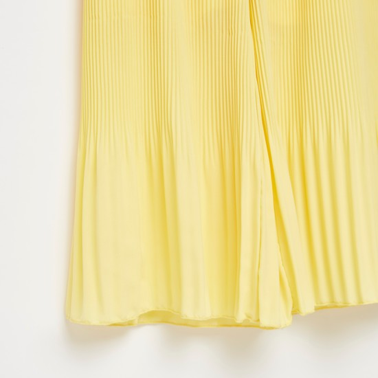 Textured Pleated Wide Leg Pants with Elasticised Waistband