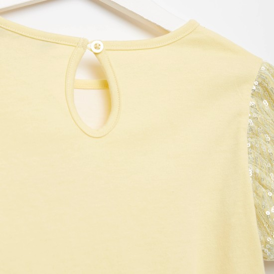 Embellished Detail T-shirt with Round Neck and Mesh Sleeves