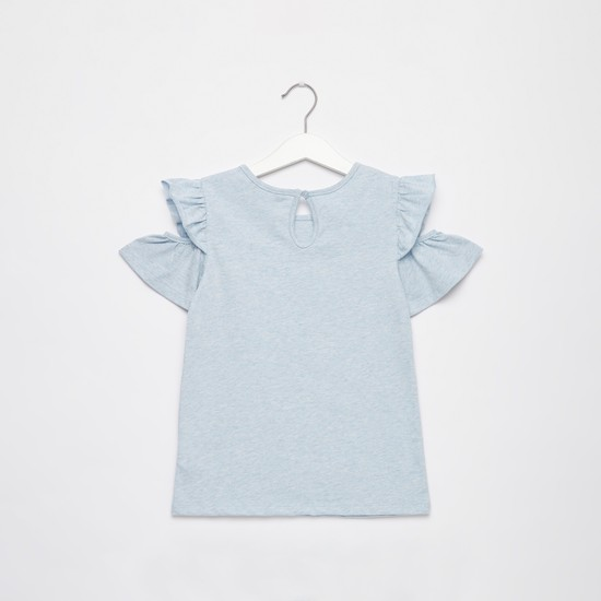 Embellished Round Neck T-shirt with Cold Shoulder and Ruffle Detail