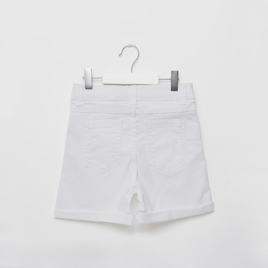 Embellished Denim Shorts with Pockets and Button Closure