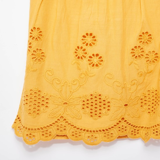 Broderie Woven Top with Round Neck and Short Sleeves