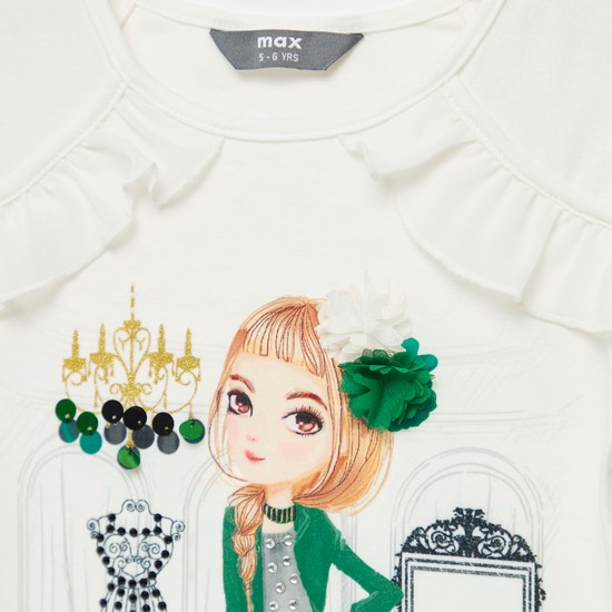 Graphic Print Cold Shoulder T-shirt with Round Neck