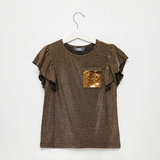 Sequin Embellished Round Neck Top with Cap Sleeves