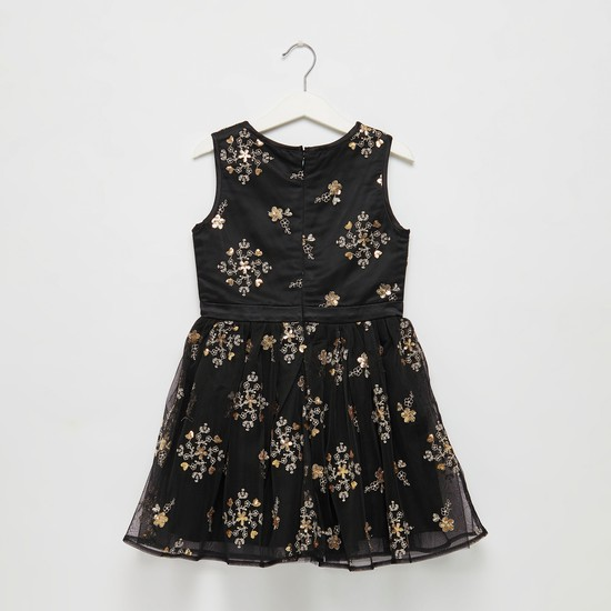 Embroidered Sleeveless Dress with Round Neck and Sequin Detail