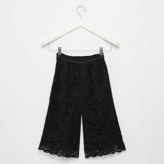 Lace Detail Culottes with Elasticised Waistband