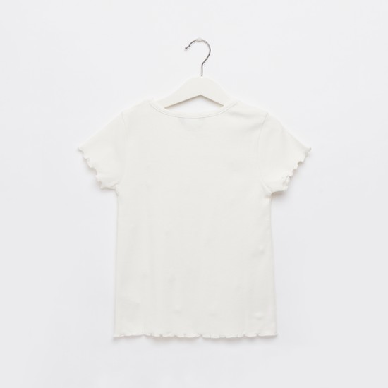 Ribbed T-shirt with Round Neck and Cap Sleeves