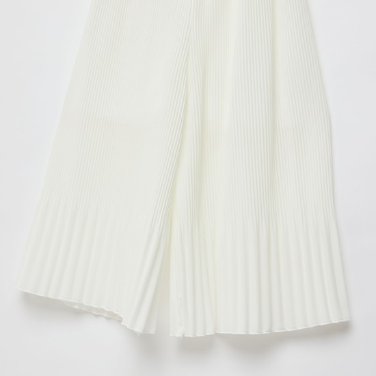 Solid Pleated Culottes with Elasticised Waistband