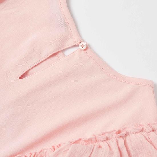 طقم تنورة بطول الركبة وبلوزة بأكمام قصيرة وطبعات