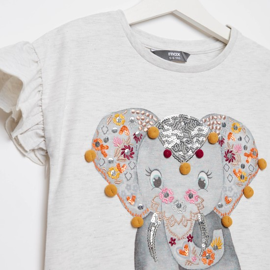 Embellished Round Neck Elephant Print T-shirt with Cap Sleeves