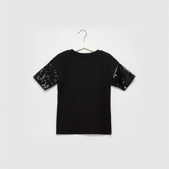 Be Kind Printed Round Neck T-shirt with Embellished Short Sleeves
