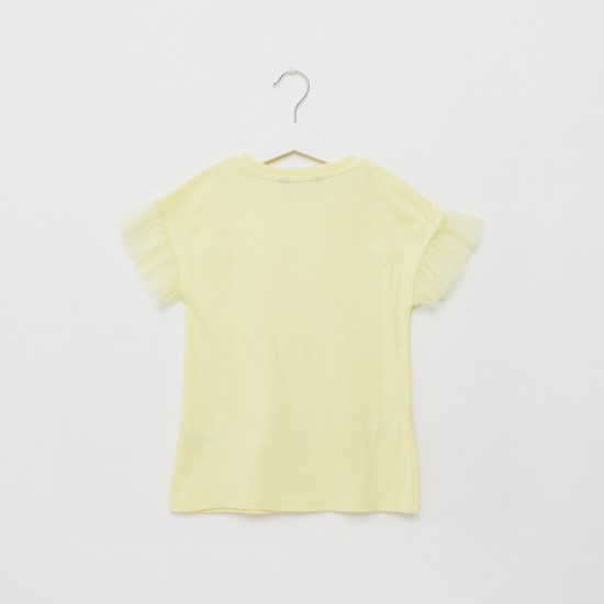 Embellished Round Neck T-shirt with Short Sleeves  and Ruffles