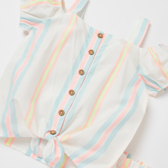 Striped Cold Shoulder Top with Shorts Set