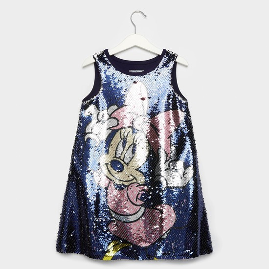 Minnie Mouse Sequin Detail A-line Sleeveless Dress