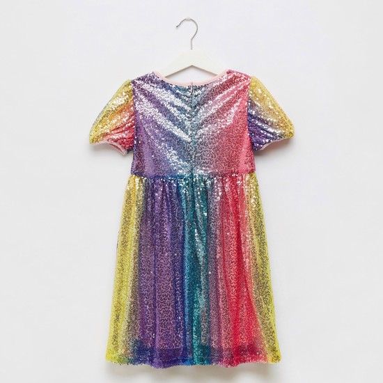 Sequin Detail Shift Dress with Short Sleeves and Hair Tie