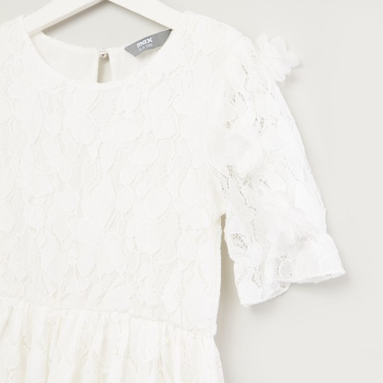Lace Detail Dress with Round Neck and Short Sleeves
