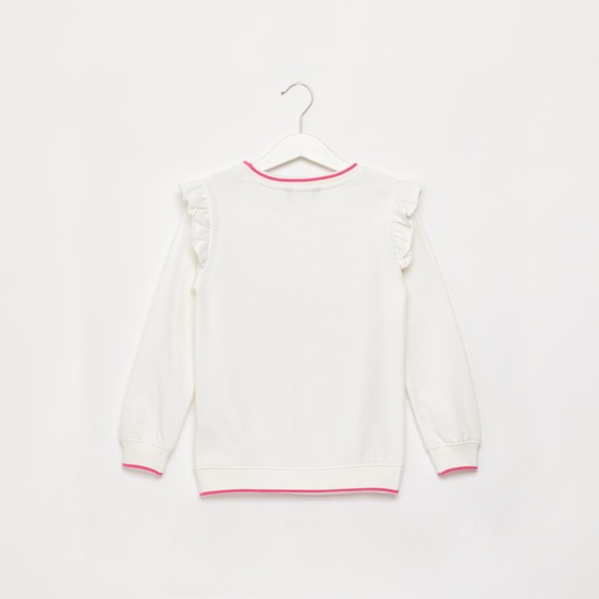 Embellished Printed Sweat Top with Long Sleeves and Ruffle Detail