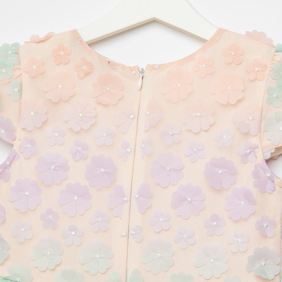 Flower Embellished Round Neck Dress with Cap Sleeves