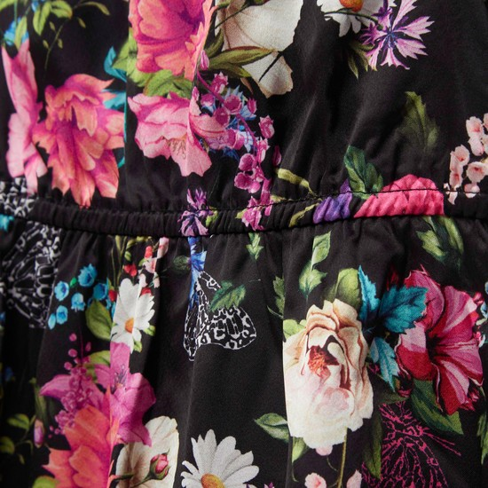 All-Over Floral Print Satin Tiered Dress with Frill Sleeves