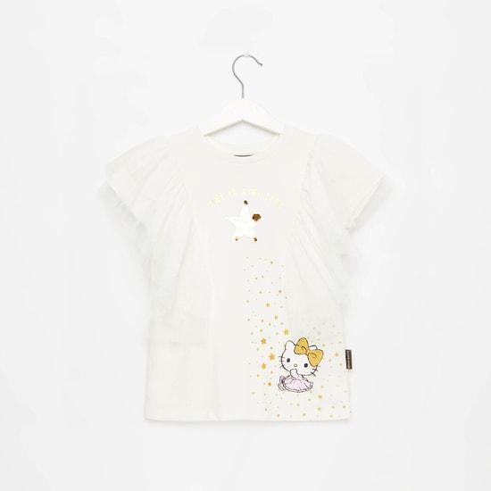 Hello Kitty Print Round Neck Top with Ruffle Detail
