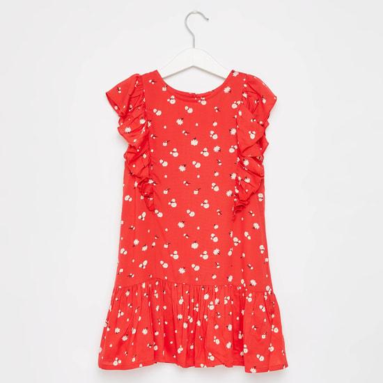 فستان ميدي دون أكمام بياقة مستديرة وطبعات أزهار وتفاصيل كشكش
