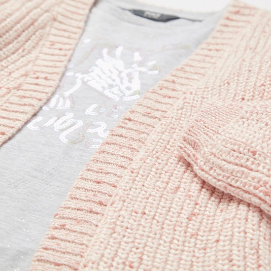 Embellished Long Sleeves T-shirt with Textured Cardigan