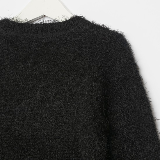 Star Squad Textured Round Neck Sweater with Long Sleeves