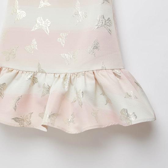 Jacquard Round Neck Sleeveless Dress with Bow Detail