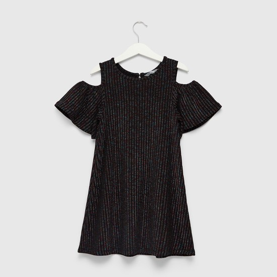 Textured Knit Cold Shoulder Dress with Round Neck