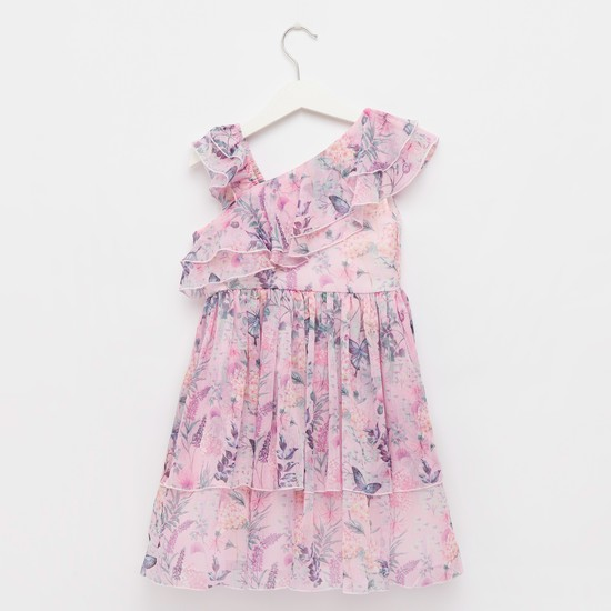 Floral Print One-Shoulder Dress with Ruffle Detail