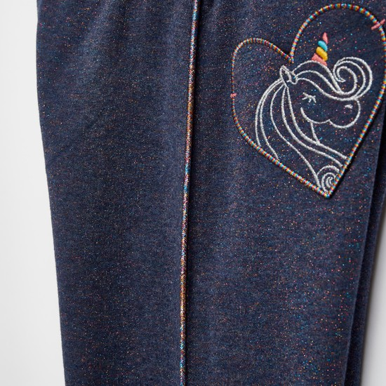 Unicorn Embroidered Detail Jog Pants with Drawstring Closure