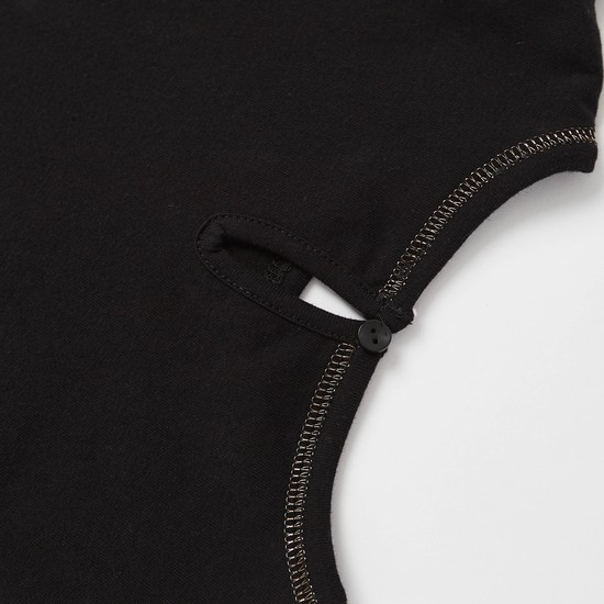Slogan Print Round Neck T-shirt with Unicorn Print Skirt Set