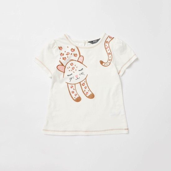 Cat Graphic Print Jacquard T-shirt with Skirt Set