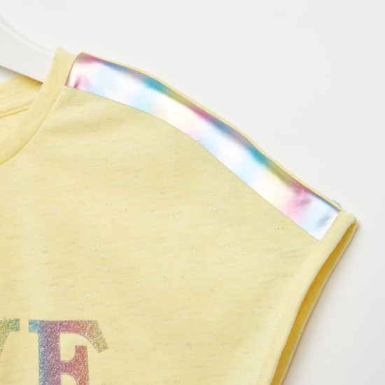Graphic Print T-shirt with Drop Shoulder Sleeves and Tie-Ups