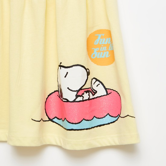 Snoopy Dog Print Knee-Length Dress with Round Neck