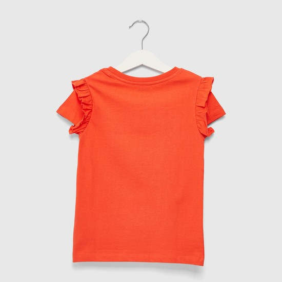 Graphic Print Round Neck T-shirt with Cap Sleeves