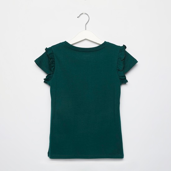 Text Print T-shirt with Ruffle Detail and Cap Sleeves