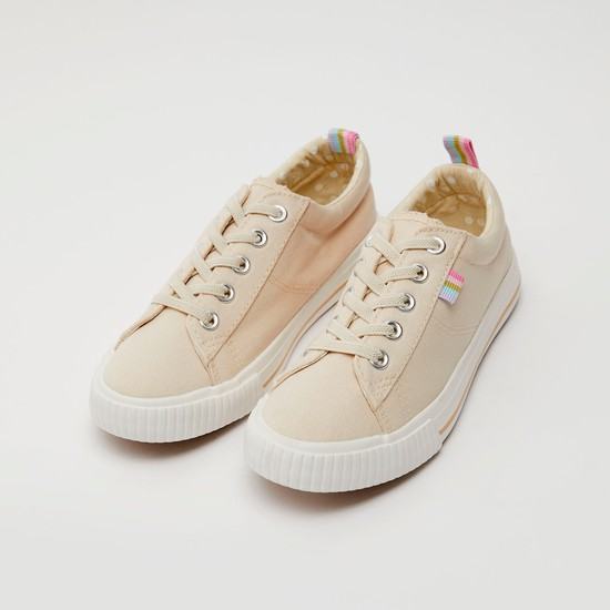 Textured Canvas Shoes with Pull Tab and Lace-Up Detail