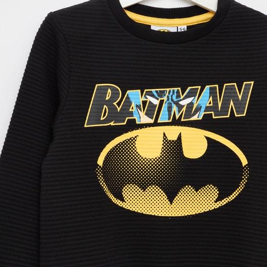 سويت شيرت بأكمام طويلة وياقة مستديرة وطبعات باتمان
