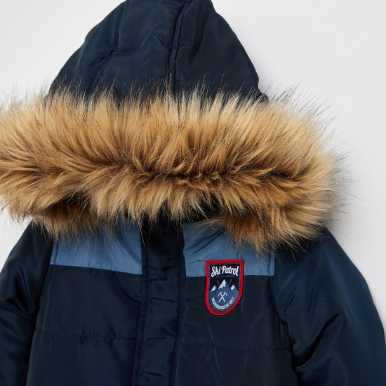 Solid Nylon Jacket with Sherpa Lining Hood and Long Sleeves