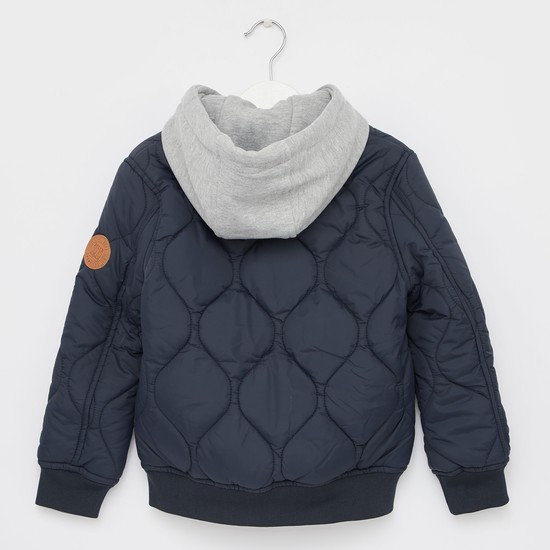 Quilted Solid Jacket with Long Sleeves and Hoodie